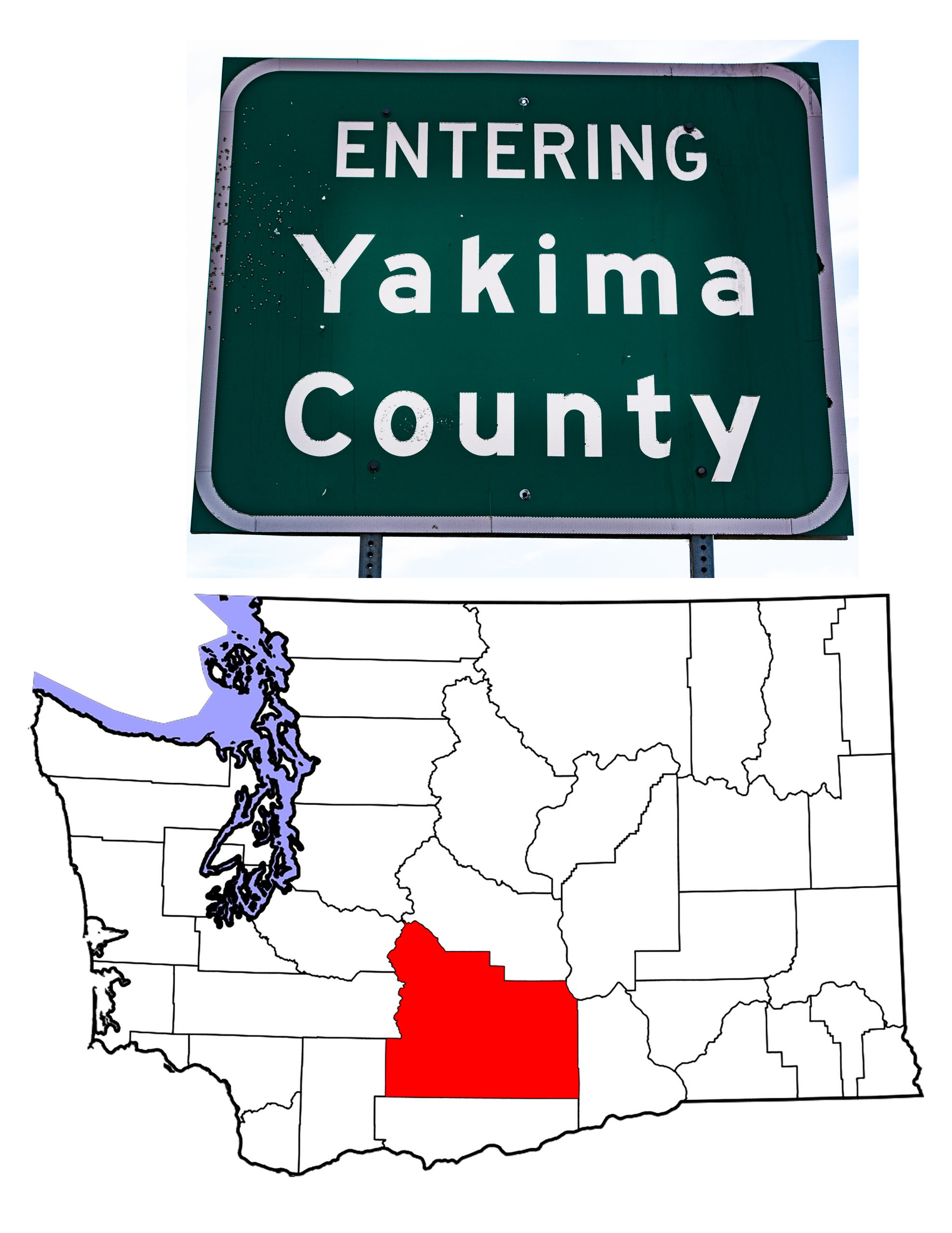 The Yakima County highway sign and a map of Washington showing Yakima County in red.