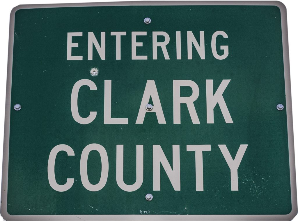 """The highway sign showing that we are """"Entering Clark County"""" Idaho.  We are certainly on the road again."""