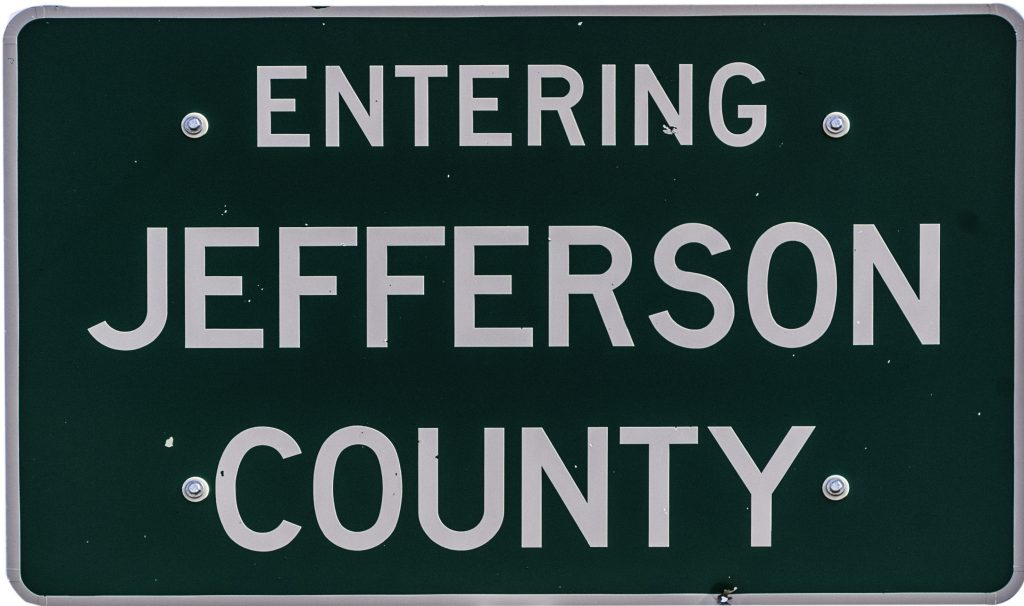 """The highway sign stating that you are """"Entering Jefferson County.""""  You are definitely on the road again."""